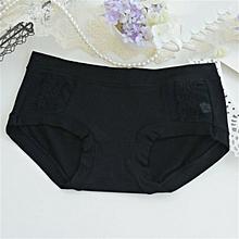 TB Women Pure Cotton Briefs Comfortable Middle Waist Panties with Lace Decoration black