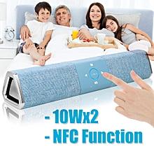 20W Wireless Bluetooth Speaker Soundbar Touch NFC Cloth Sound Bar Subwoofer Blue