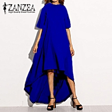 ZANZEA Women Autumn O Neck Short Sleeve Asymmetrical Hem Summer Casual Loose Party Solid Long Dress Plus Size (Blue)