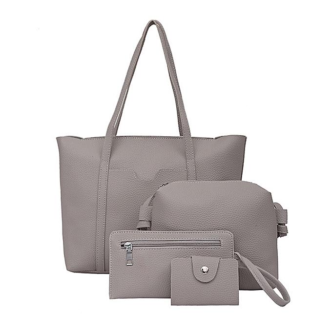 Women Four Set Handbag Shoulder Bags Pieces Tote Bag Crossbody Wallet