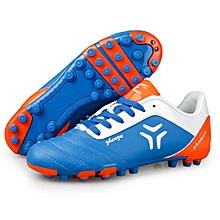 Zhenzu Outdoor Sporting Professional Training PU Short Nail Football Shoes, EU Size: 41(Blue)