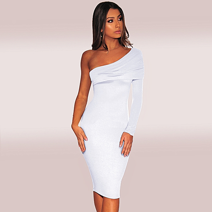 a7429915630 New Sexy Women Slope One Shoulder Dress Solid Color Long Sleeve Bodycon  Club Party Bandage Dress