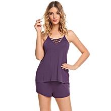 Women Spaghetti Strap Cross V Neck Sleepwear Short Solid Pajama Set Nightwear ( Purple )