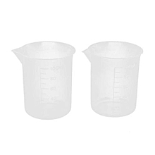 100mL Graduated Beaker Clear Plastic Measuring Cup For Lab 2 Pcs -White