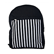 Black canvas trendy school bag with tribal strips print