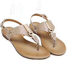 4e8bc31feab Jiahsyc Store Women Metal Decoration Buckle Strap Flip Beach Wedge Sandals  Shoes CO 35-