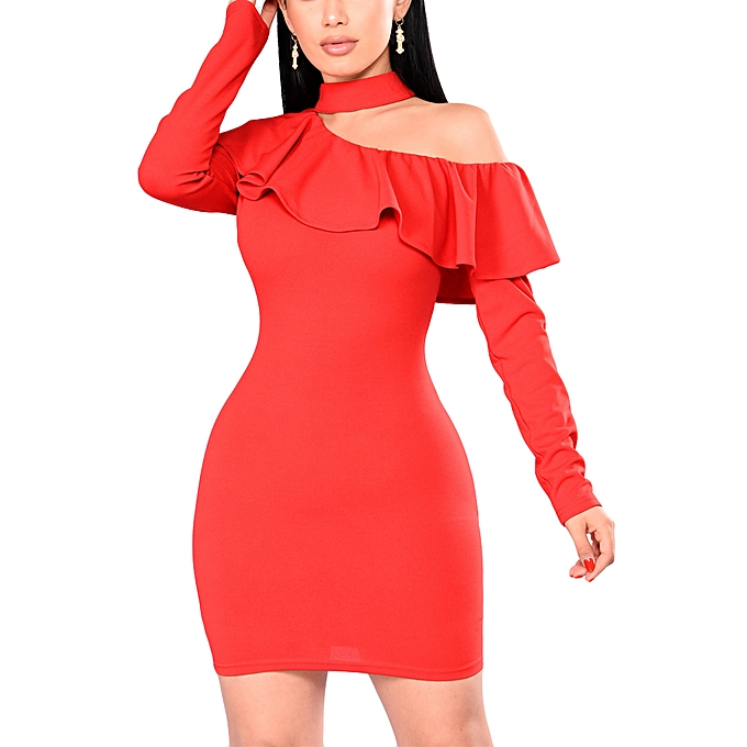 6be6d36454 ... Sexy Women Bodycon Mini Dress Choker Neck Long Sleeves One Shoulder  Ruffle Overlay Party Bandage Dress ...