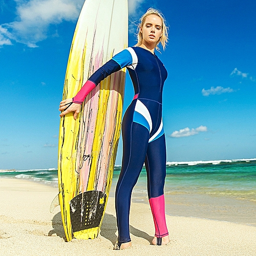 13eaa0da39 Fashion Women s diving suit one-piece long sleeve wetsuits spandex front  zipper winter swim snorkeling surf suit