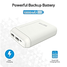 FORCE-10: White Lightweight 10,000mAh Power Bank,Charges 2 devices simultaneously & with Automatic Voltage Regulation
