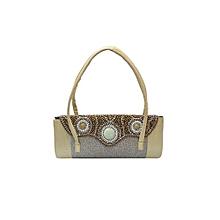 Elegant Handbag with Curvy Beaded Flap - Gold