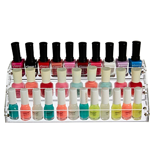 3 Tier Clear Acrylic Nail Polish Holder Jewelry Cosmetic Makeup Case Organizer