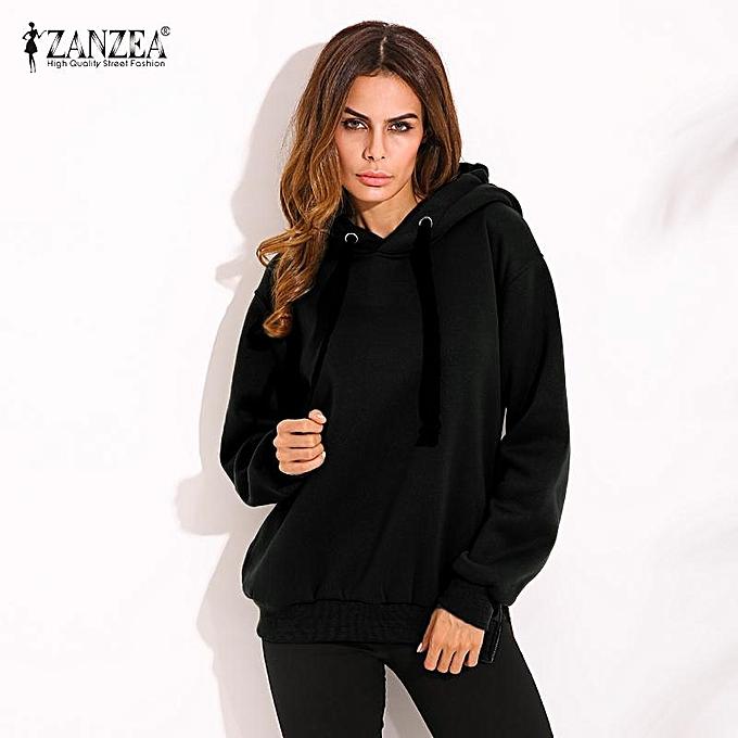 80b371bfcd4 ZANZEA Women Casual Hoodies Sweatshirts Hoody Pullover Leisure Autumn Long  Sleeve Hem Split Solid Outwear Tops