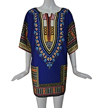 Fohting  Women African Print Dress Casual Straight Print Above Knee Mini Dresses L -Blue