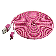 bluerdream-3M Fabric Braided Flat Micro USB Charger Data Cable For Tablet Cellphone -Hot Pink