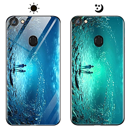 low priced 7ffe9 d43a5 OPPO F5 Youth Case, Fashion Luminous [Noctilucent] Tempered Glass Back  Cover With Soft Silicone Rubber TPU Bumper Hybrid Protection Case For OPPO  F5 ...