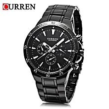Male Quartz Watch Stainless Steel Strap Wristwatch-BLACK