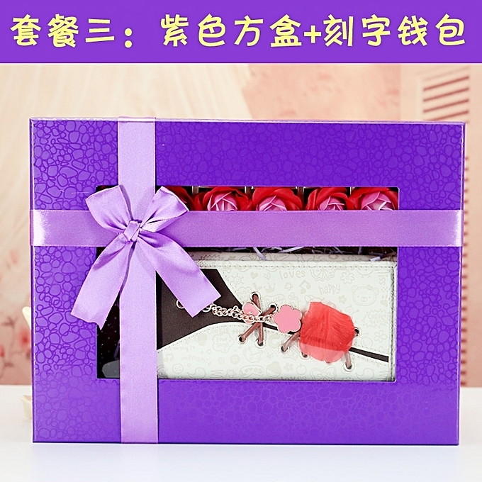 White Lettering Wallet Square Gift BoxBirthday Girl Girlfriends To Send 18