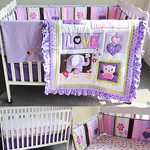 New Baby 8pcs Nursery Bedding Set S Purple Elephant Crib Cot Quilt Per