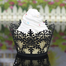 24Pcs Christmas Hollow Lace Cup Cake Paper Case Wraps Cupcake Wrapper Black