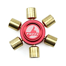 Brass Hexagonal Fidget Hand Spinner Fingers Gyro Reduce Stress Focus Attention - Red and Gold