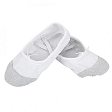 1 Pair New Breathable Comfortable Canvas Dance Gym Slipper Shoes For Child Kids Girl(White 28)