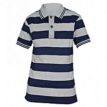 Navy / Grey Striped Mens Polo Shirts