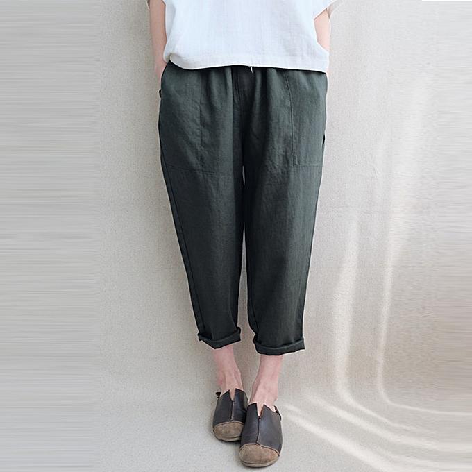 ced24dba72f Womens Casual Elastic Waist Harem Pants Vintage Solid Plain Cargo Trousers