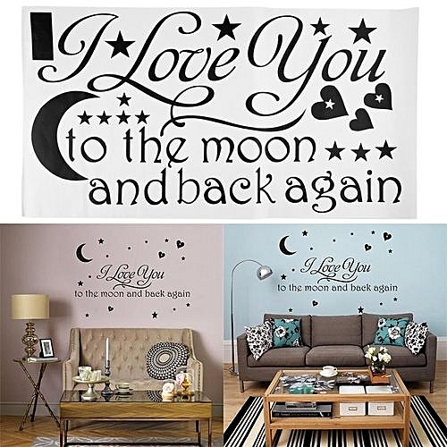 Buy Generic I Love You To The Moon And Back Again Quote Wall Sticker Home Decor Decals Best