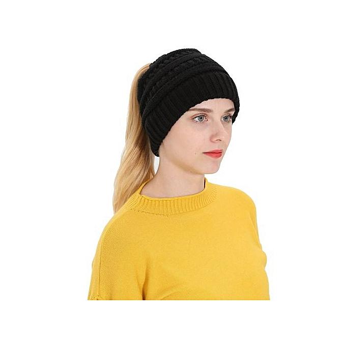 967db9e6ee8 Wenrenmok Store Women Men Autumn Winter Beanie Hat Knitting Wool Warm Hats  Earmuffs Hat-Black