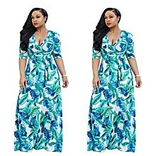 Leaf Print Long Sleeve Wrap Maxi Dress 26103
