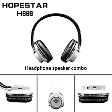 2-in-1 Bluetooth Headphones with Mic Deep Bass Wireless Headset FM Radio white