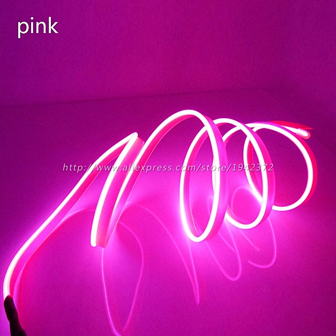 DIY Decoration Neon Light 12V 5 Meters Auto Car Interior LED Flexible EL  Cold Wire Rope Tube Line Dashboard Console Door(5m Yellow)