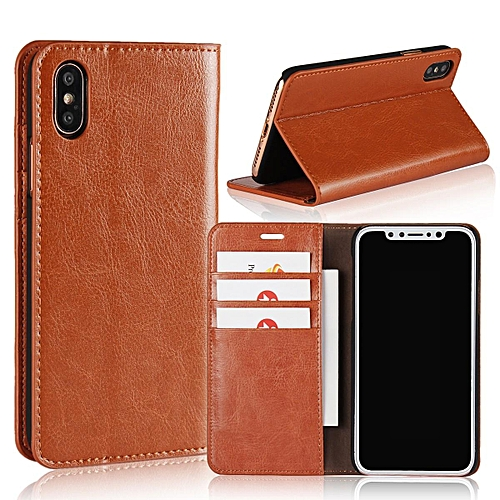 promo code f9aad e01ad Luxury Real Leather Wallet Case Cover for Apple iPhone X