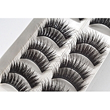 Eyelashes  10 Pairs Of Mechanism Half Manual False Eyelash Hard  Stems Lengthen Thick Black