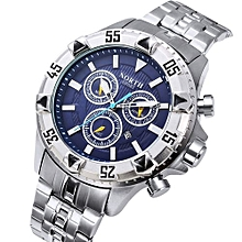 Blicool Wrist Watch North Calendar Quartz Wrist Watch Stainless Steel Bracelet Men Watch-silver