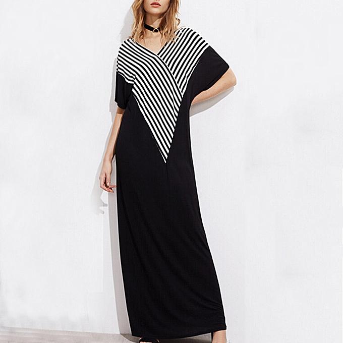 178db9d0e4 Fashion Loose Striped Maxi Dress V Neck Short Sleeve Side Pockets Casual  Summer Plus Size Long