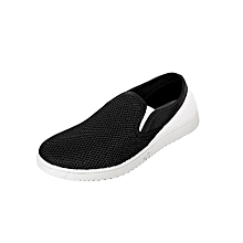 Black Slip-On Casual Shoes With White Back Strip