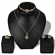 Lady Women Personality Rhinestone Necklace Bracelet Ring Earrings Jewelry Set