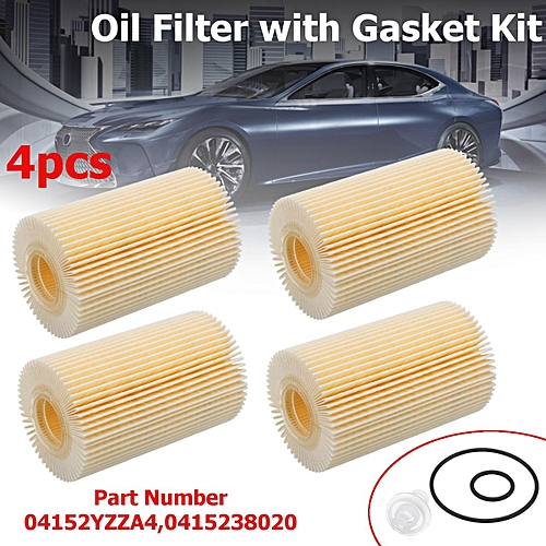 4Pcs Engine Oil Filter with Gasket Kit For Toyota Land Cruiser Sequoia  Tundra