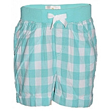 Green Checked Kids Shorts