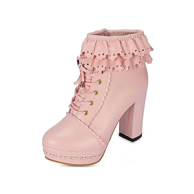 d09010191b6 Fashion Trendy Round Toe Chunky Heel Platform Lace-up Women Boots ...
