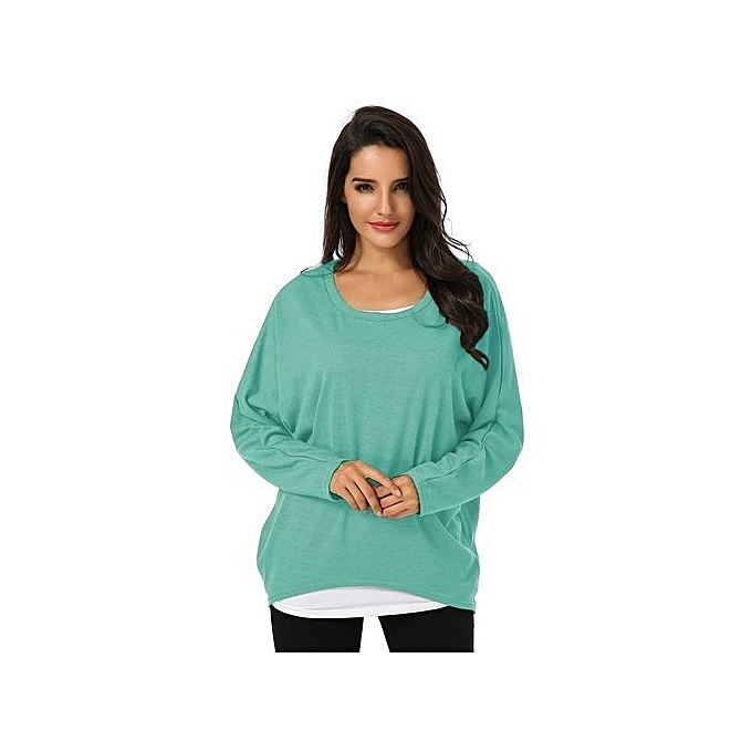 367f8e8446bc48 ZANZEA Women's Sexy Long Batwing Sleeve Loose Pullover Casual Top Blouse T- Shirt Green
