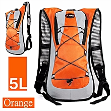 New 5L Hydration Backpack Rucksack 2L Straw Water Bladder Bag For Cycling Hiking Orange-