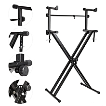New 2-Tiers X Style Dual Keyboard Stand Adjustable Electronic Music Piano Holder