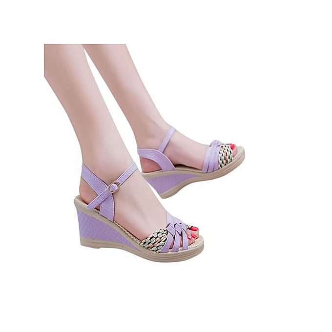 4d74fbbb4 ... Jiahsyc Store Ladies Women Wedges Shoes Summer Sandals Platform Toe High -Heeled Shoes-Purple ...