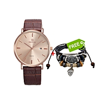 Brown Mens Leather Watch With Gold Dial - Free Bracelet