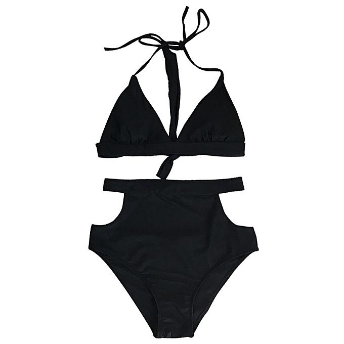 66e1f0e9238 Sexy Women High Waist Bikini Set Halter Straps Cut Out Side Backless Two  Piece Swimsuit Swimwear