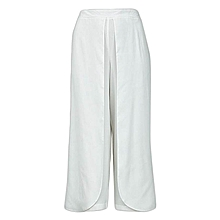 Ivory White Ladies Plus Size Palazzo Trousers