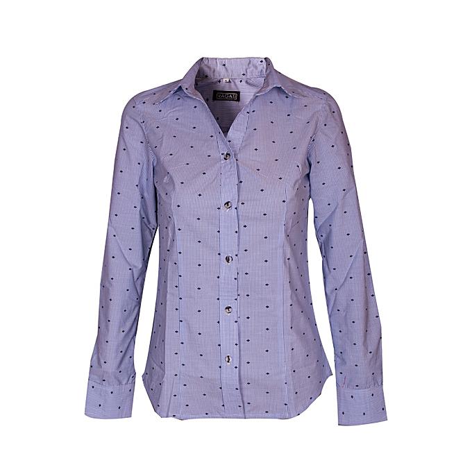6978228a01a44b RAGATI Ragati Ladies V-Neck Cotton Pinstripe Shirt @ Best Price ...