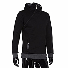 bluerdream-Men's Autumn Winter Long Sleeve Zipper Hooded Sweatshirt Tops Blouse BK/L- Black